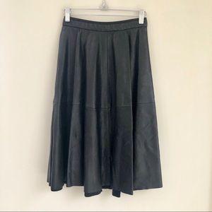 Zara Black Vegan Leather A-Line Skirt